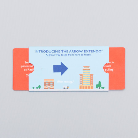 The Arrow Extendo reveals two hidden panels when the tab is pulled, also causing the arrow die cut to slide