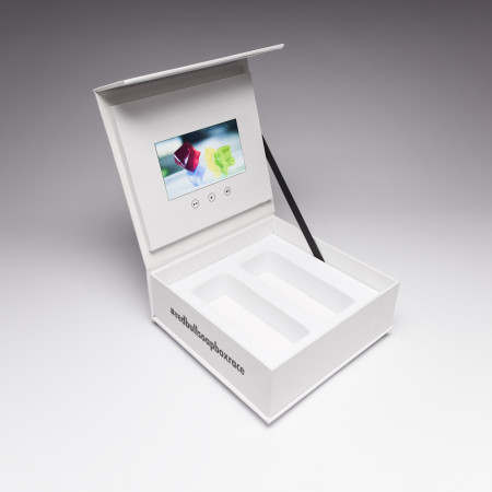"""Red Bull used Red Paper Plane's 4.3"""" Video Screen Box for a promotional campaign. This product is perfect for any promotional campaign because your samples and gifts are presented a professional manner to your target audience, with engaging video content"""