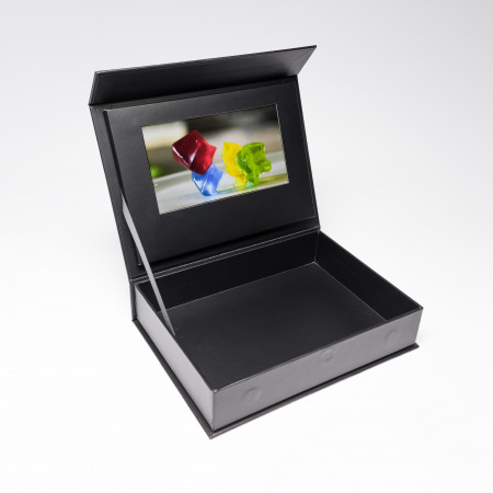 """The Last Game Used Red Paper Plane's 7"""" HD Video Screen Box for a promotional campaign. Your samples and gifts are presented a professional manner to your target audience due to the inside well, video screen, and overall sleek feel."""