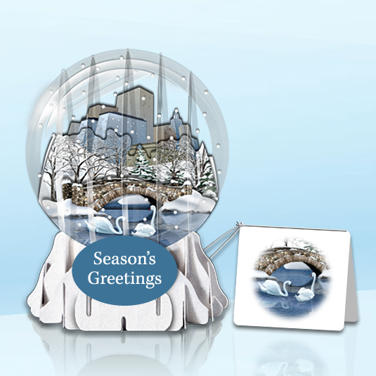 "City Footbridge 3"" Globe Greeting Card"