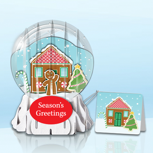 "Gingerbread House 3"" Globe Greeting Card"