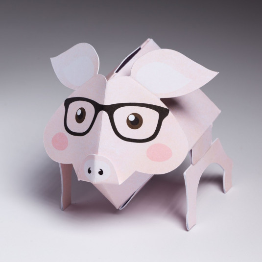 Pop Up Pink Pig with Black Glasses with Bank Hole