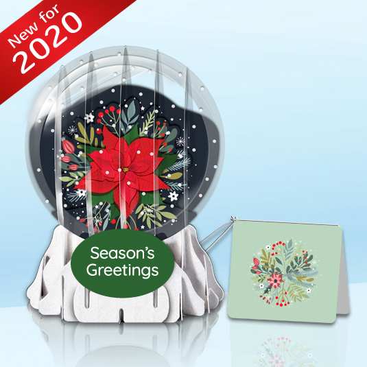 "Poinsettia in Bloom 3"" Globe Greeting Card"