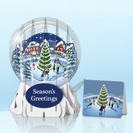 "Skating Village 3"" Globe Greeting Card"