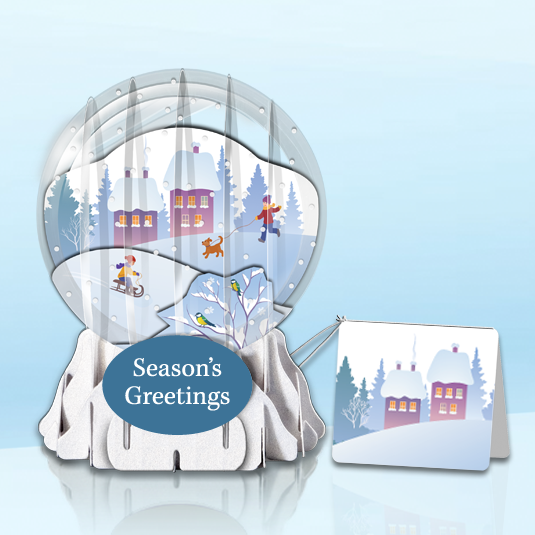 "Sledding 3"" Globe Greeting Card"