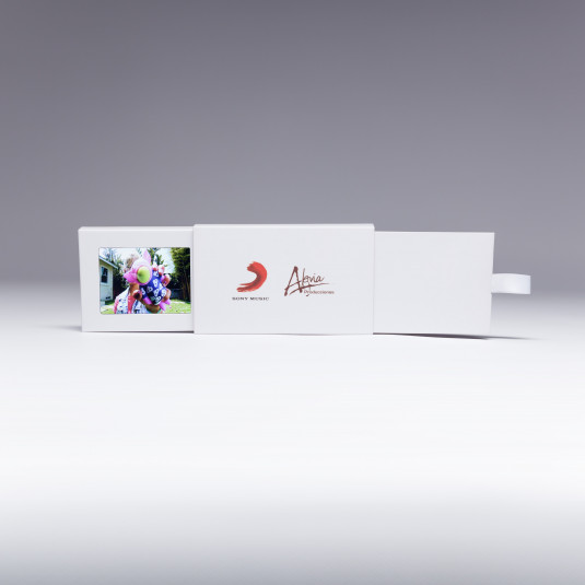 "Send a marketing message that's small, but mighty with Red Paper Plane's 2.4"" Video Extendo Business Card. Pulling the tab reveals an additional panel that contains a 2.4"" video screen, customizable with your marketing message."