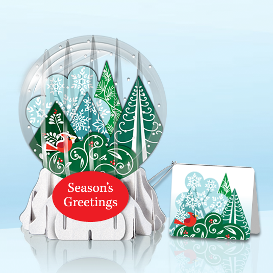 "Whimsical Forest 3"" Globe Greeting Card"
