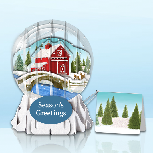 "Winter Barn 3"" Globe Greeting Card"