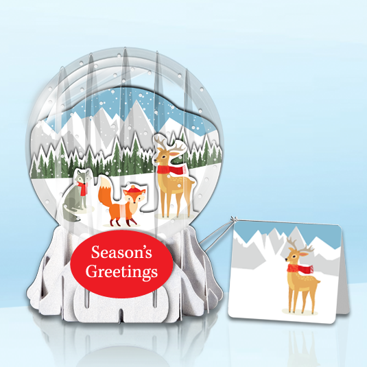 "Winter Forest 3"" Globe Greeting Card"