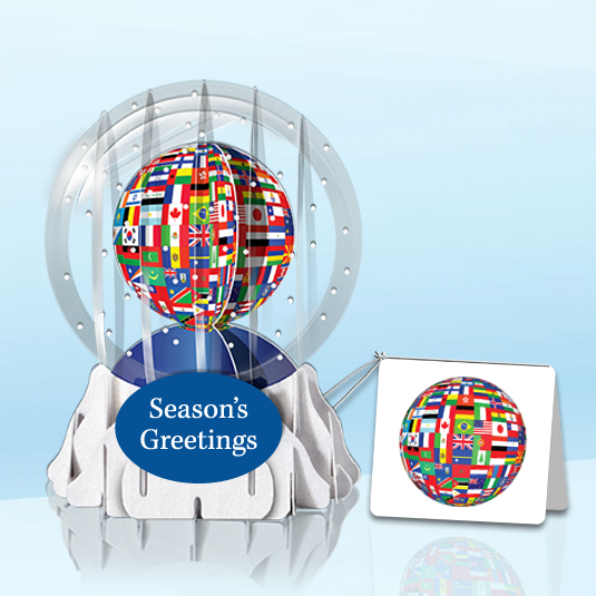 "World Flags 3"" Globe Greeting Card"