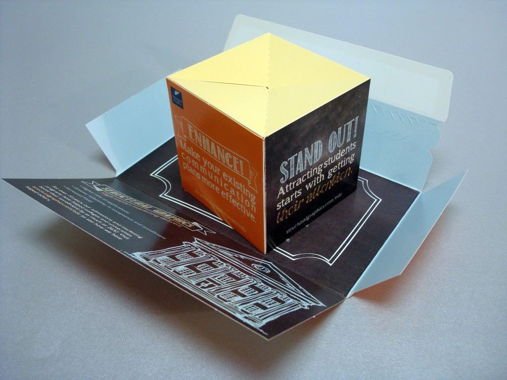 Higher Education Pop Up Direct Mail Cube